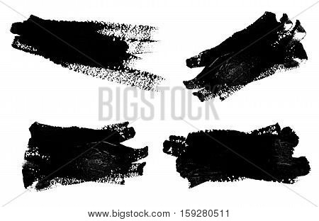Collection of photos black strokes of the paint brush isolated on a white