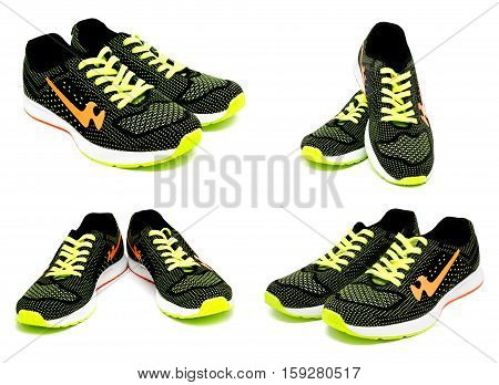 Collection of photos running sport shoes isolated on a white background