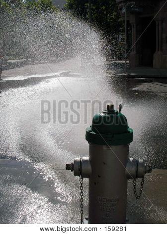 Spraying Fire Hydrant
