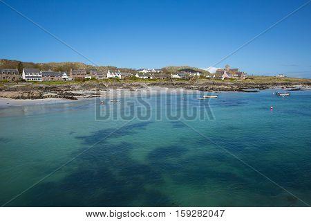 Clear blue turquoise sea Scottish island of Iona Scotland uk Inner Hebrides off the Isle of Mull west coast of Scotland