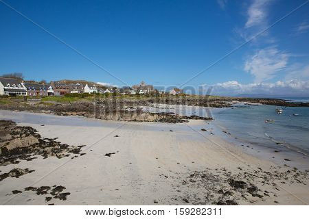 Iona white sand beach Scotland uk Scottish island off the Isle of Mull west coast of Scotland a popular tourist destination known for the abbey