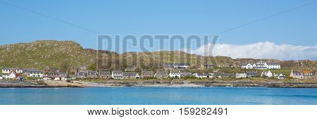 Scottish island of Iona Scotland uk Hebrides off Isle of Mull west coast of Scotland a popular tourist destination known for the abbey panoramic view