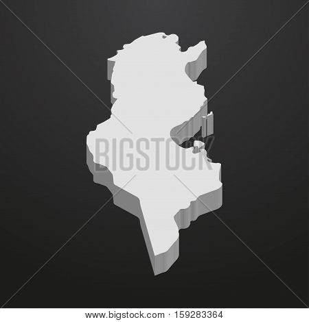 Tunisia map in gray on a black background 3d