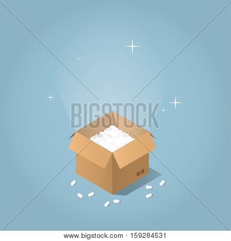 Isometric vector mail service concept. Opened cardboard box with glowing light and sparkles from inside. Pieces of filler are over the box.
