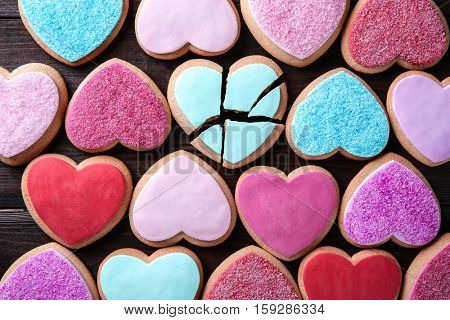 Heart shaped cookies background, top view