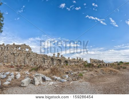 The ancient city wall ruins that surround the town of Side in Turkey.