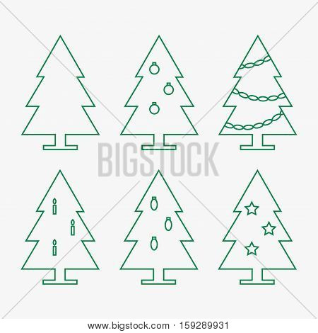 Christmas trees. Collection of decorated christmas trees. Christmas trees isolated icons on background. New year trees. Fir tree icons. Flat line vector illustration design.