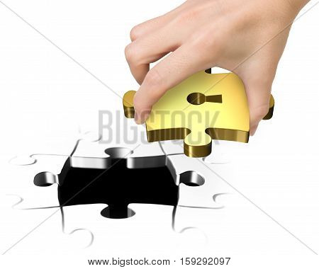 Hand Holding Last Golden Puzzle Piece With Keyhole