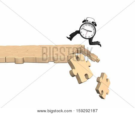 Alarm Clock With Human Legs Running On Breaking Puzzle Path