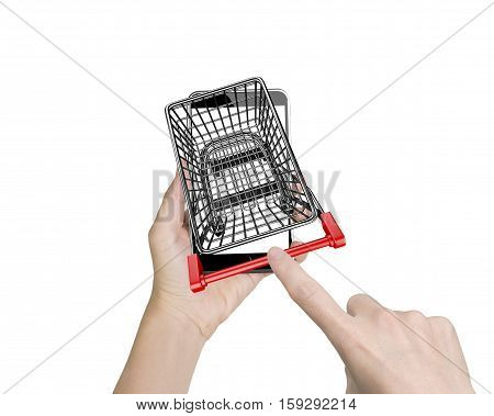 Woman Forefinger Pushing Shopping Cart On Smartphone