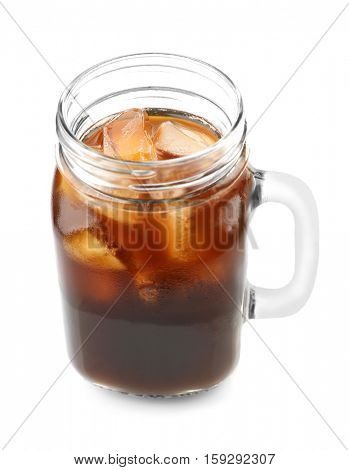 Jar of iced coffee on white background