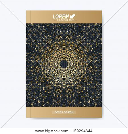 Modern vector template for brochure, leaflet, flyer, cover, magazine or annual report. Golden layout in A4 size. Business, science and technology design book layout. Presentation with golden mandala