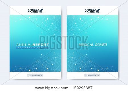 Modern vector template for brochure, leaflet, flyer, cover, magazine or annual report. Molecular layout A4 size. Business, science, technology design book layout. Scientific background presentation