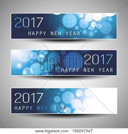 Set of Horizontal Christmas, New Year Banners - 2017