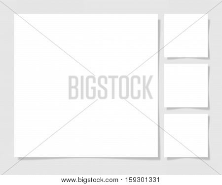 four pieces blank sheet of white square paper with the shadow for your design, vector illustration