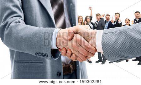Business handshake and happy energetik business people