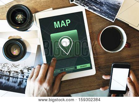 Map Destination Location GPS Concept
