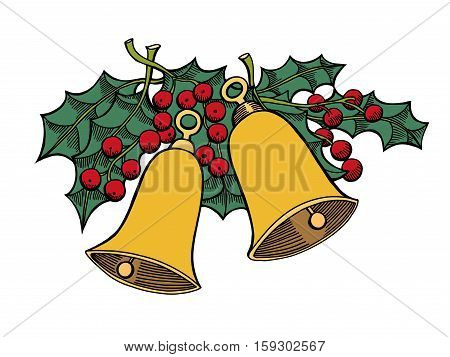 Christmas hand drawn retro postcard with cute jingle bells, holly berries