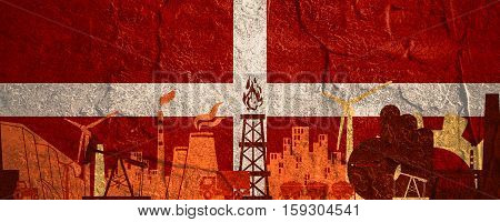 Energy and Power icons set. Header banner with Denmark flag. Sustainable energy generation and heavy industry. Concrete textured