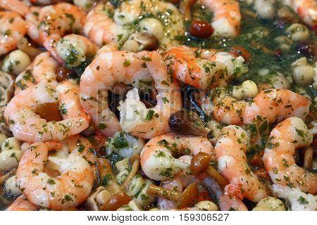 Shrimp Seafood Salad With Mushrooms