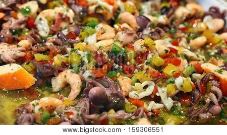 Seafood And Fresh Vegetables Salad Close Up