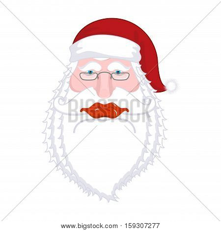 Santa Claus Portrait. Christmas Grandpa With White Beard And Red Cap. Illustration For New Year. Xma