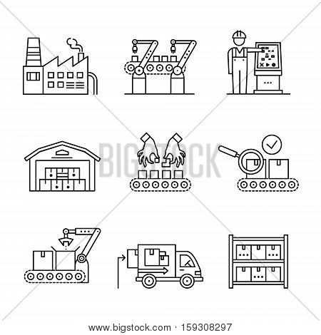 Modern robotic and manual manufacturing assembly lines. Packaging, loading and warehouse inventory. Thin line art icons set. Linear style illustrations isolated on white.