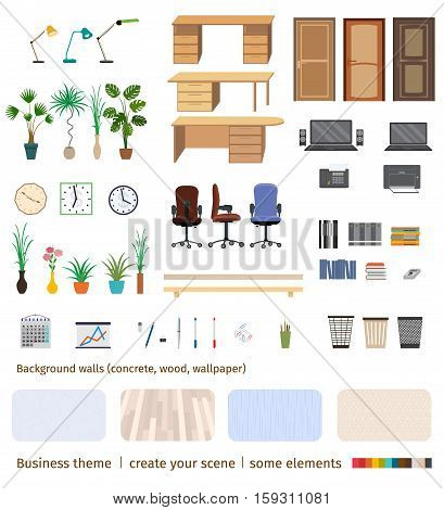 Set of business elements and furniture to create your own office interior scene. Flat style vector illustration