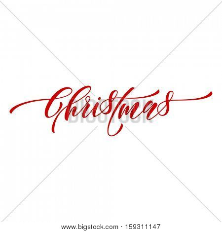 Creative typography Merry Christmas vector text calligraphy. Lettering design for greeting card or gift poster template. Calligraphic type style font for Christmas holiday banner