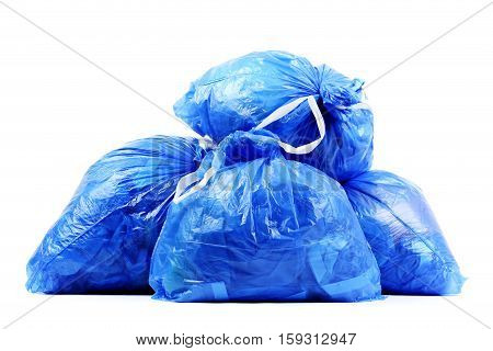 Blue rubbish bags isolated on a white