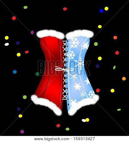 dark background and the large red blue white black carnival corset of New Year colored confetti