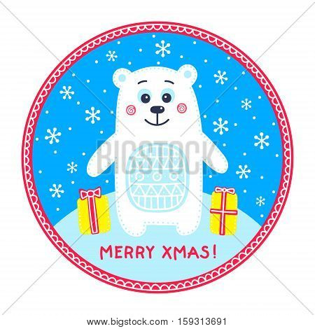 Flat polar bear. Vector hand drawn polar bear with ornament. Holiday decor with winter animal snowflake and gifts. Isolated. Merry Xmas!