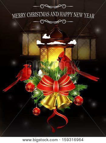 Christmas decoration with street lights hanging and evergreen trees and golden bells with red bow and Cardinal bird greeting card