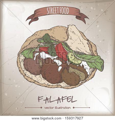 Falafel in pita color sketch on grunge background. Middle eastern cuisine. Street food series. Great for market, restaurant, cafe, food label design.