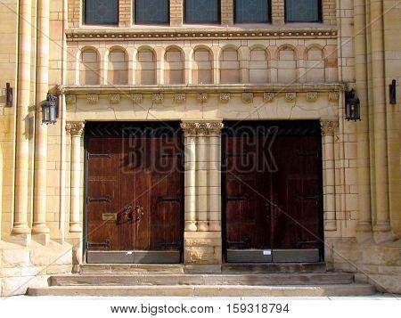 Toronto Canada - November 5 2015: Doors of Greek Orthodox Church.