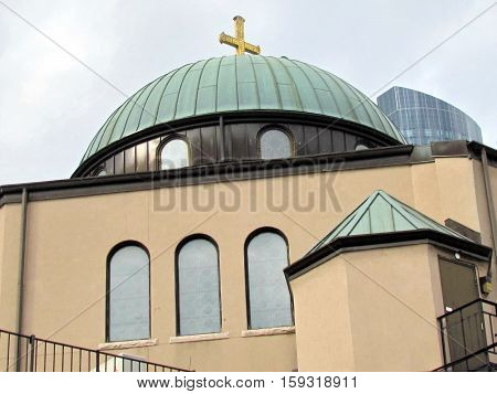 Toronto Canada - November 5 2015: The dome of Greek Orthodox Church.
