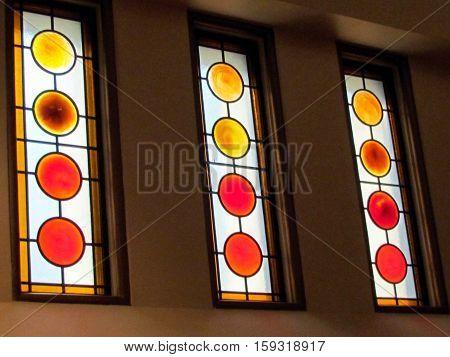 Toronto Canada - November 17 2015: Windows into Greek Orthodox Church.