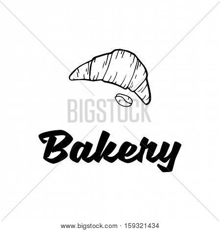 Croissant label. Baker Badge. Bakery Label. Isolated On White Background Vector Illustration