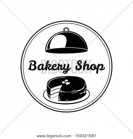 Chocolate Cake. Baker Badge. Bakery Label Vector Illustration Isolated On White Background