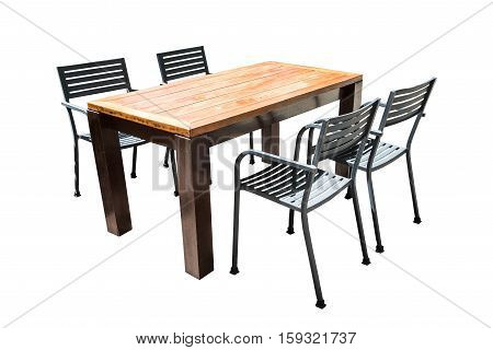 Image Wooden Table Isolated On White Background