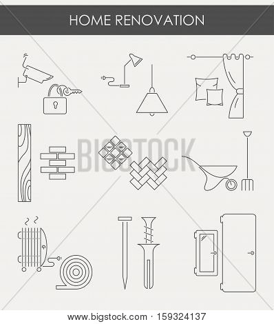 Collection of house repair icons, including electric, plumbing tools. Modern line style labels of house remodel gear and elements. Building, construction graphic design. Repair tools.