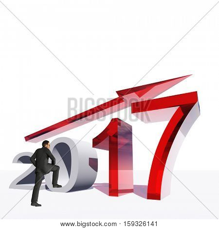 Conceptual 3D illustration human, man or businessman standing over an red 2017 year symbol with an arrow isolated on white background