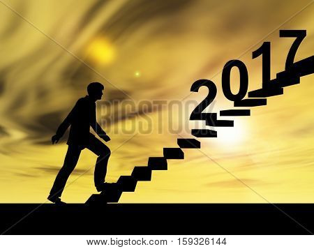 Conceptual 3D male businessman on stair or with 2017 new year eve over sunset sky background