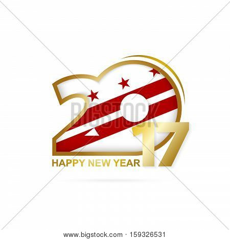 Year 2017 With District Of Columbia State Flag Pattern. Happy New Year Design On White Background.