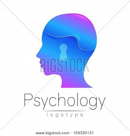 Modern head logo of Psychology. Profile Human. Creative style. Logotype in vector. Design concept. Brand company. Blue color isolated on white background. Symbol for web, print, card, flyer. Keyhole