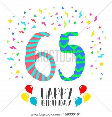 Happy Birthday For 65 Year Party Invitation Card