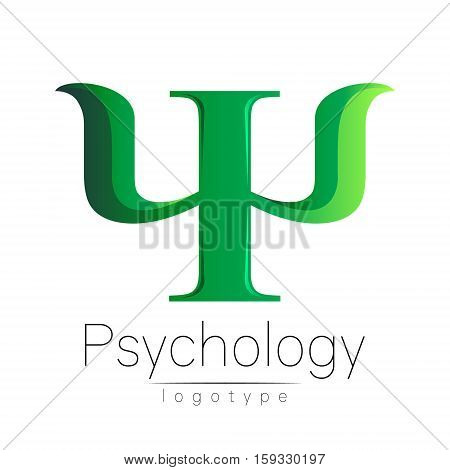 Modern logo of Psychology. Psi. Creative style. Logotype in vector. Design concept. Brand company. Green color letter on white background. Symbol for web, print, card, flyer. Bright