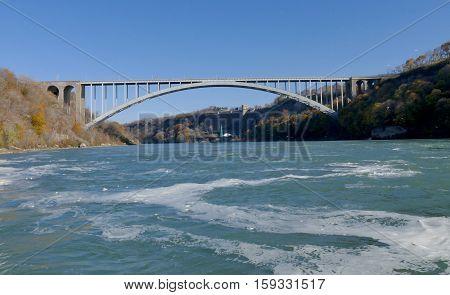 NIAGARA FALLS CANADA - NOVEMBER 13th 2016: Rainbow bridge connecting USA and Canada