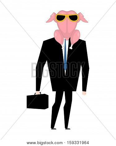Businessman In Raw Turkey Mask. Raw Chicken With Glasses Manager With Suitcase
