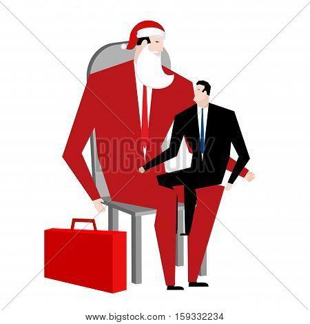 Office Christmas. Manager Sitting On Lap Of Boss. Santa Claus Congratulates Employee. Congratulation